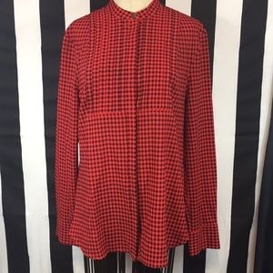 J. Crew check blouse red and black sz Medium
